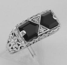Art Deco Style Black Onyx Filigree Ring with 2 diamonds - Sterling Silver #98131v2
