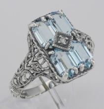 Art Deco Style 2 Carat Blue Topaz Filigree Ring with Diamond - Sterling Silver #98511v2