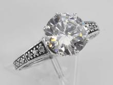 Classic Victorian Style Cubic Zirconia Solitare Filigree Ring - Sterling Silver #98603v2