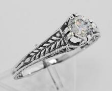 Beautiful Victorian Style CZ Solitare Filigree Ring - Sterling Silver #98132v2