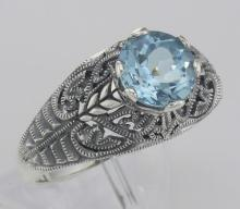 Victorian Style Genuine Blue Topaz Solitaire Filigree Ring - Sterling Silver #98516v2
