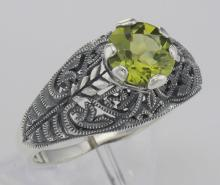 Victorian Style Genuine Peridot Solitaire Filigree Ring - Sterling Silver #98517v2