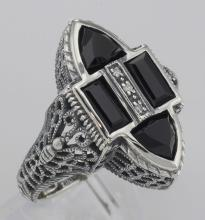 Antique Style Four Stone Black Spinel and Diamond Ring - Sterling Silver #98547v2