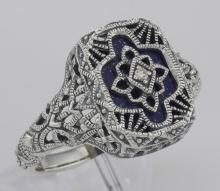 Victorian Style Blue Lapis Filigree Diamond Ring in Fine Sterling Silver #98535v2