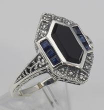 Art Deco Style Black Onyx Sapphire and Diamond Filigree Ring - Sterling Silver #98534v2