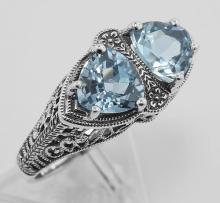 Art Deco Style 1.5 Carat TW Genuine Blue Topaz Filigree Ring - Sterling Silver #98205v2