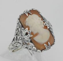 Hand Carved Italian Shell Cameo Filigree Ring - Sterling Silver #98119v2