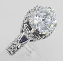 Victorian Style 6.5 Carat CZ Solitare Ring with Sapphire Accents Sterling Silver #98210v2