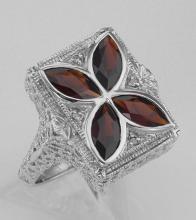 Art Deco Style 4 Stone Garnet & Diamond Ring - Sterling Silver #98108v2