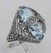Art Deco Style 2 Stone Blue Topaz and Diamond Filigree Ring Sterling Silver #98529v2