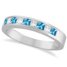 Princess Channel-Set Diamond and Blue Topaz Ring Band 14K White Gold #21235v3