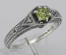 Victorian Style Genuine Peridot Filigree Ring w/ 2 Diamonds - Sterling Silver #98520v2