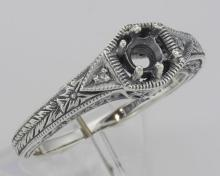 Semi Mount Victorian Style Filigree Ring w/ 2 Diamonds - Sterling Silver #98518v2