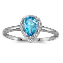 Certified 14k White Gold Pear Blue Topaz And Diamond Ring 0.78 CTW #51337v3