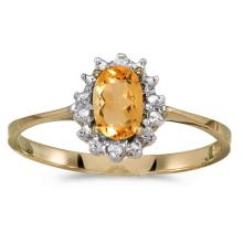 Certified 14k Yellow Gold Oval Citrine And Diamond Ring 0.33 CTW #51201v3