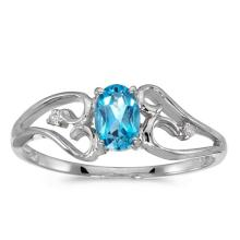 Certified 10k White Gold Oval Blue Topaz And Diamond Ring 0.41 CTW #50649v3