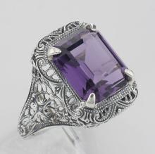 Art Deco Style Genuine Emerald Cut Amethyst Ring - Sterling Silver #98416v2