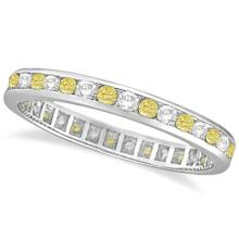 Channel-Set Yellow and White Diamond Eternity Ring 14k W Gold (1.00ct) #20905v3