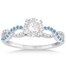 Infinity Diamond and Blue Topaz Engagement Ring in 14k White Gold (1.01ct) #21337v3