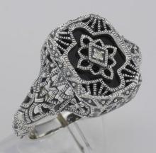 Victorian Style Black Onyx Filigree Diamond Ring in Fine Sterling Silver #98536v2