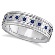 Blue Sapphire Ring for Men Wedding Band 14k White Gold (0.80ctw) #20759v3
