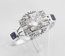 Sterling Silver CZ / Sapphire Filigree Ring - Art Deco Style #98211v2