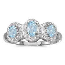 Certified 14k White Gold Oval Aquamarine And Diamond Three Stone Ring 0.43 CTW #51339v3