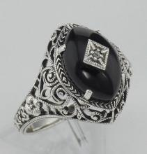 Art Deco Style Black Oynx Ring with Diamond Center - Sterling Silver #98130v2