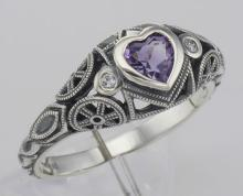 Victorian Style Heart Shaped Genuine Amethyst Filigree Ring - Sterling Silver #98526v2