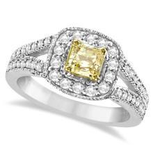 Yellow Diamond Radiant Millgrain-Edge Ring 14k White Gold (0.90 ct) #21013v3