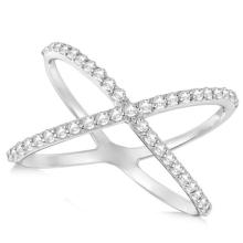 X Shaped Ring with Diamonds, Abstract Design 14k White Gold 0.50ct #20843v3