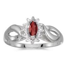 Certified 10k White Gold Marquise Garnet And Diamond Ring 0.27 CTW #50562v3