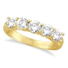 Five Stone Diamond Ring Anniversary Band 14k Yellow Gold (1.50 ctw) #20401v3