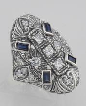 CZ / Sapphire Filigree Ring - Art Deco Style - Sterling Silver #97442v2