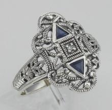 Art Deco Style Sapphire Filigree Ring w/ Diamond - Sterling Silver #97432v2