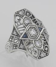 Art Deco Style CZ / Genuine Sapphire Filigree Ring - Sterling Silver #97439v2