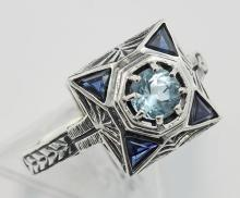 Blue Topaz Filigree Ring w/ Sapphire - Sterling Silver #97429v2