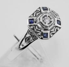 Sapphire / CZ Filigree Ring - Deco Style - Sterling Silver #97427v2
