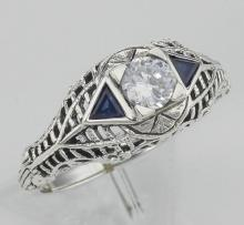 Art Deco Style Cubic Zirconia Filigree Ring w/ Sapphire - Sterling Silver #97431v2