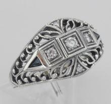 Art Deco Style CZ / Genuine Blue Sapphire Filigree Ring Sterling Silver #97441v2