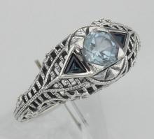 Blue Topaz Filigree Ring w/ Sapphire - Art Deco Style - Sterling Silver #97435v2