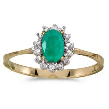 Certified 14k Yellow Gold Oval Emerald And Diamond Ring 0.33 CTW #51230v3