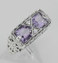 Art Deco Style Genuine Amethyst Filigree Ring - Sterling Silver #97464v2