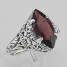 Art Deco Style Genuine Red Garnet Filigree Ring - Sterling Silver #97272v2