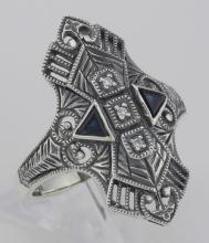 Art Deco Style Filigree Ring w/ Sapphires / 3 Diamonds - Sterling Silver #97428v2