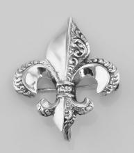Fleur de Lis Pin - Charm Hanger - Sterling Silver #97446v2