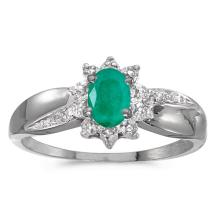 Certified 14k White Gold Oval Emerald And Diamond Ring 0.32 CTW #50884v3