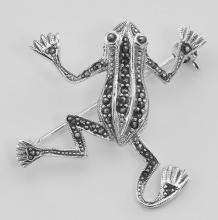 Cute Marcasite Frog Pin / Brooch - Sterling Silver #97729v2