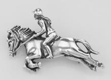 Jockey / Jumping Race horse Pin - Sterling Silver #97705v2