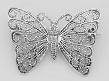 Filigree Butterfly Pin / Brooch - Sterling Silver #97730v2
